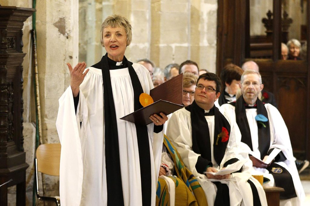 Rev. Canon Nikki Arthy, the Chair of the Discover DeCrypt charity and rector of St Mary de Crypt, leading the Service of Celebration to mark the reopening of Discover DeCrypt in Gloucester. - 22 March 2019 Picture by Andrew Higgins - Thousand Word Media   NO SALES, NO SYNDICATION. Contact for more information mob: 07775556610 web: www.thousandwordmedia.com email: antony@thousandwordmedia.com  The photographic copyright (©2019) is exclusively retained by the works creator at all times and sales, syndication or offering the work for future publication to a third party without the photographer's knowledge or agreement is in breach of the Copyright Designs and Patents Act 1988, (Part 1, Section 4, 2b). Please contact the photographer should you have any questions with regard to the use of the attached work and any rights involved.