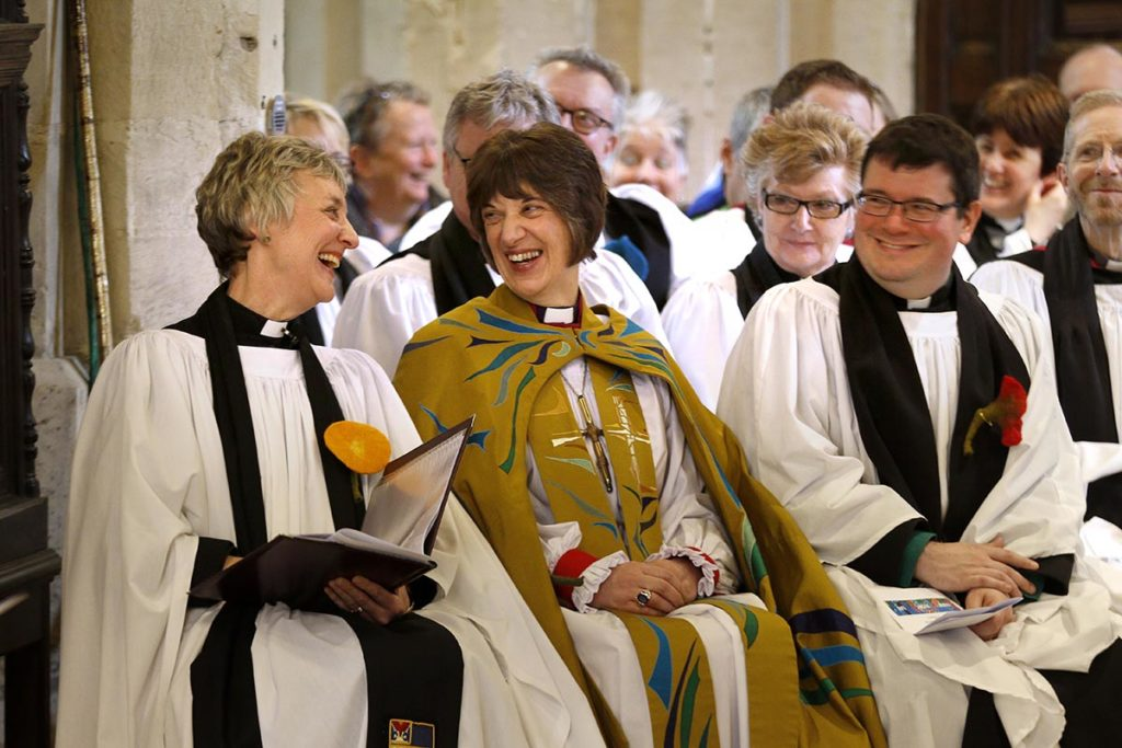 Rev. Canon Nikki Arthy, the Chair of the Discover DeCrypt charity and rector of St Mary de Crypt, and the Bishop of Gloucester, the Rt Rev Rachel Treweek, at the Service of Celebration to mark the reopening of Discover DeCrypt in Gloucester. - 22 March 2019 Picture by Andrew Higgins - Thousand Word Media   NO SALES, NO SYNDICATION. Contact for more information mob: 07775556610 web: www.thousandwordmedia.com email: antony@thousandwordmedia.com  The photographic copyright (©2019) is exclusively retained by the works creator at all times and sales, syndication or offering the work for future publication to a third party without the photographer's knowledge or agreement is in breach of the Copyright Designs and Patents Act 1988, (Part 1, Section 4, 2b). Please contact the photographer should you have any questions with regard to the use of the attached work and any rights involved.
