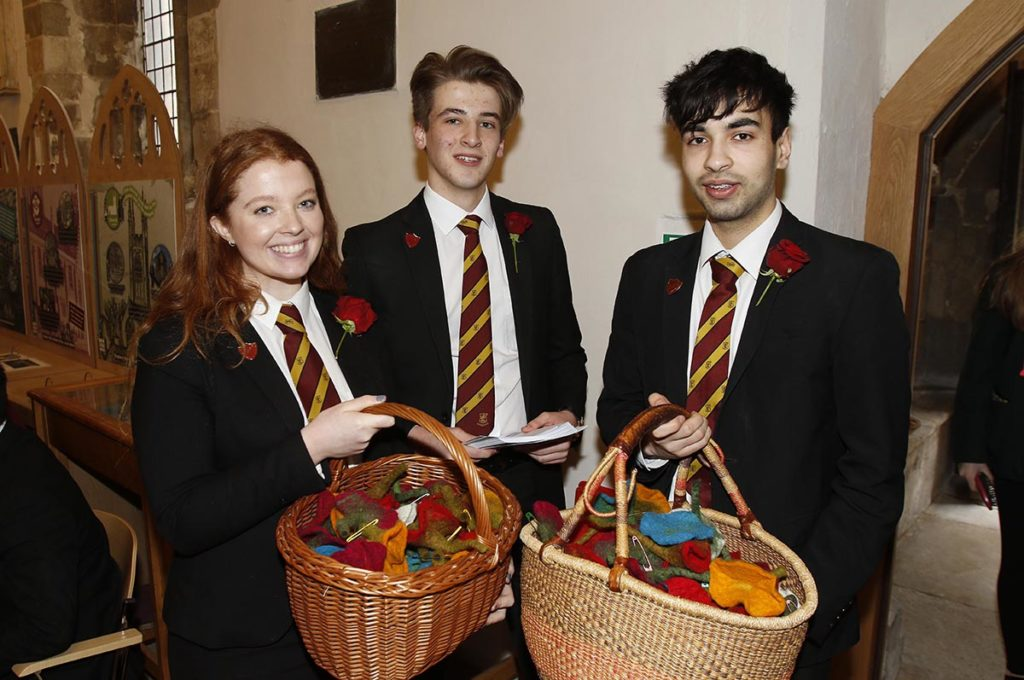 Maisie Caffney, head girl,  Matthew Nash, head boy, and Oly Hale, from the Crypt School, The Service of Celebration to mark the reopening of Discover DeCrypt in Gloucester. - 22 March 2019 Picture by Andrew Higgins - Thousand Word Media   NO SALES, NO SYNDICATION. Contact for more information mob: 07775556610 web: www.thousandwordmedia.com email: antony@thousandwordmedia.com  The photographic copyright (©2019) is exclusively retained by the works creator at all times and sales, syndication or offering the work for future publication to a third party without the photographer's knowledge or agreement is in breach of the Copyright Designs and Patents Act 1988, (Part 1, Section 4, 2b). Please contact the photographer should you have any questions with regard to the use of the attached work and any rights involved.