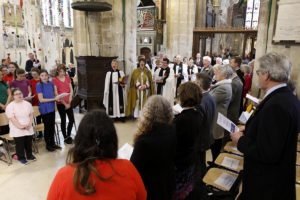 The Bishop of Gloucester, the Rt Rev Rachel Treweek, at the Service of Celebration to mark the reopening of Discover DeCrypt in Gloucester. - 22 March 2019Picture by Andrew Higgins - Thousand Word Media NO SALES, NO SYNDICATION. Contact for more information mob: 07775556610 web: www.thousandwordmedia.com email: antony@thousandwordmedia.comThe photographic copyright (©2019) is exclusively retained by the works creator at all times and sales, syndication or offering the work for future publication to a third party without the photographer's knowledge or agreement is in breach of the Copyright Designs and Patents Act 1988, (Part 1, Section 4, 2b). Please contact the photographer should you have any questions with regard to the use of the attached work and any rights involved.