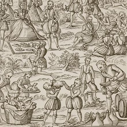Tudor woodcut of picnic in woods