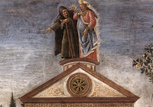 Jesus and the devil on top of the temple. Painting by Botticelli.